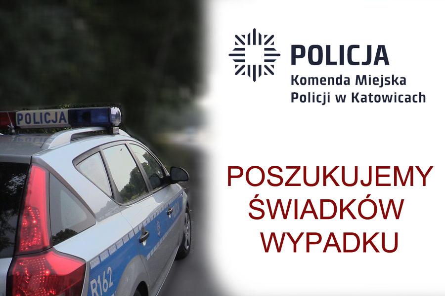 Na zdjęciu widać grafikę z napisem Poszukujemy Świadków Wypadku oraz widać logo policji i radiowóz