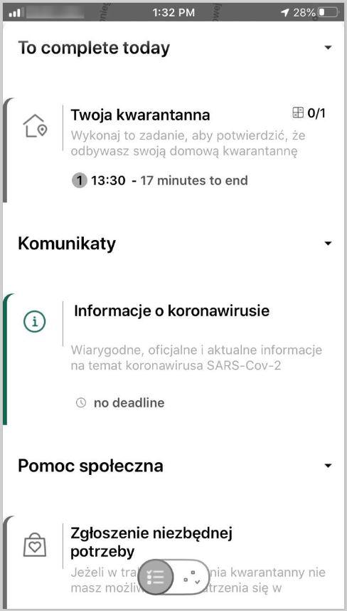 """zdjęcie kolorowe: ekran telefonu komórkowego z Ekranem aplikacji """"Kwarantanna domowa"""""""