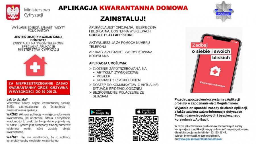 """zdjęcie kolorowe: infografika dotycząca aplikacji """"Kwarantanna domowa"""""""